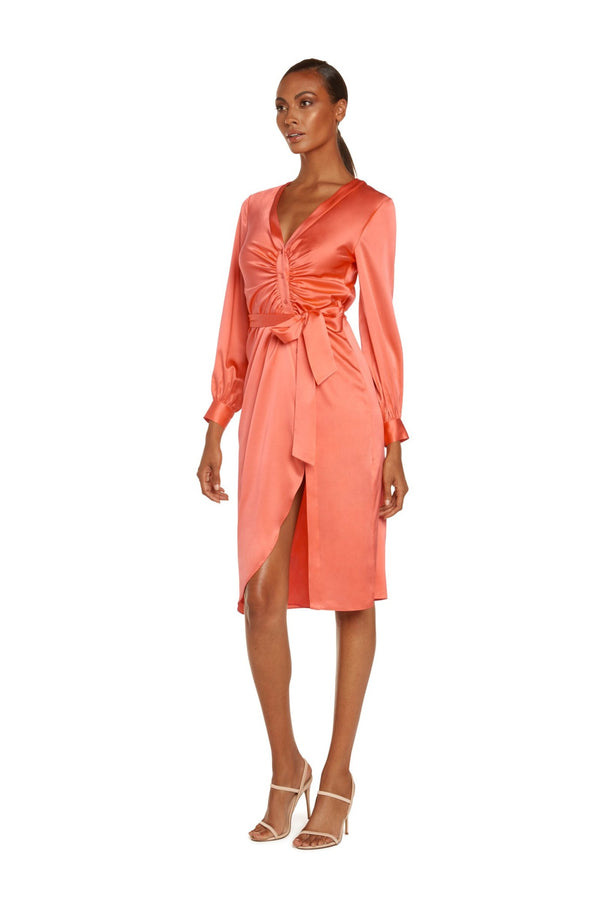 Luiza Long Sleeve Midi Dress in Living Coral Stretch Silk Satin with Front Placket and Self Belt