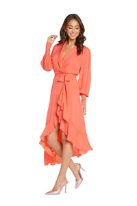 Evie Long Sleeve Midi Dress in Living Coral Silk Double Georgette with Crochet Detail