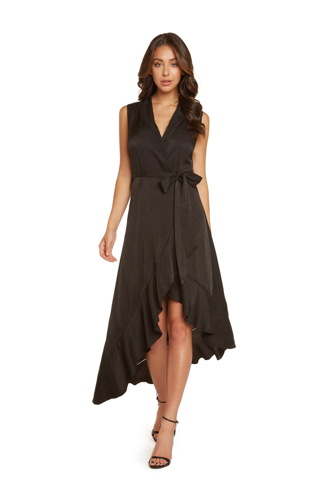 Ivy Sleeveless Midi Dress in Black Viscose Jacquard With Crochet Stitch Detail