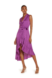 Ivy Sleeveless Midi Dress in Violet Viscose Jacquard With Crochet Stitch Detail