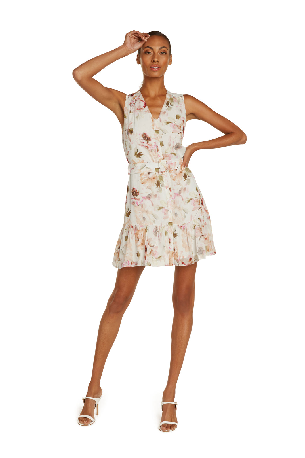 Allie Silk Mini Dress In White Floral