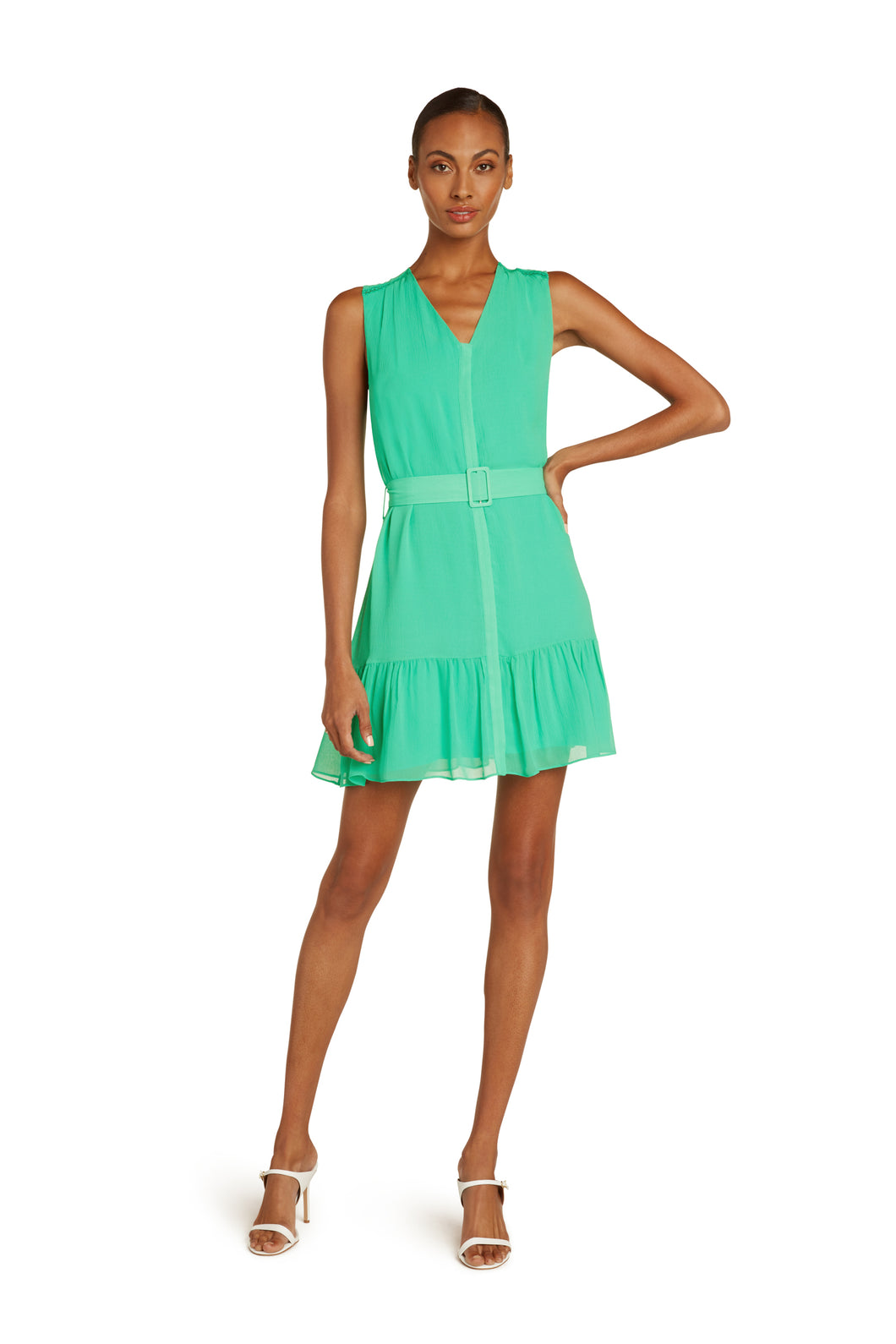 Allie Silk Mini Dress In Vivid Green