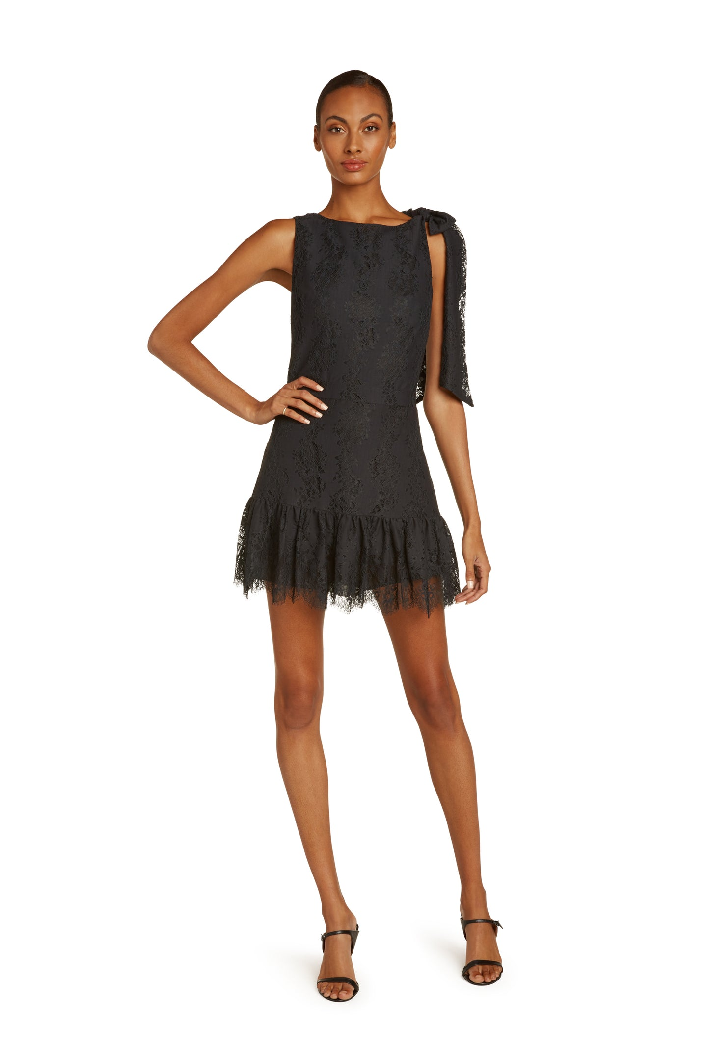 Perla Cotton Lace Mini Dress In Black