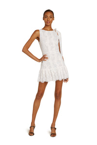Perla Cotton Lace Mini Dress In Gardenia