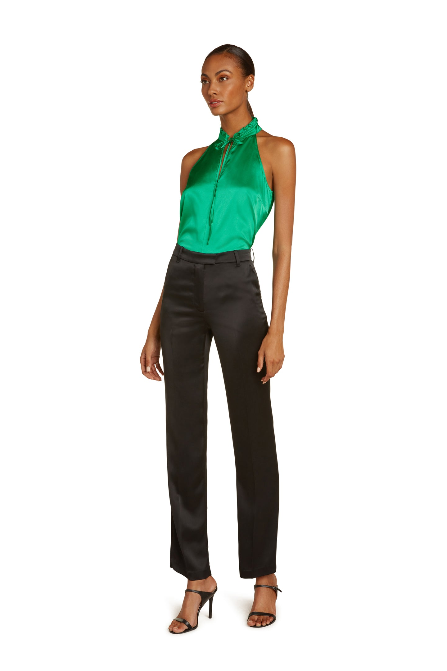 Josephine Silk Halter Top in Vivid Green