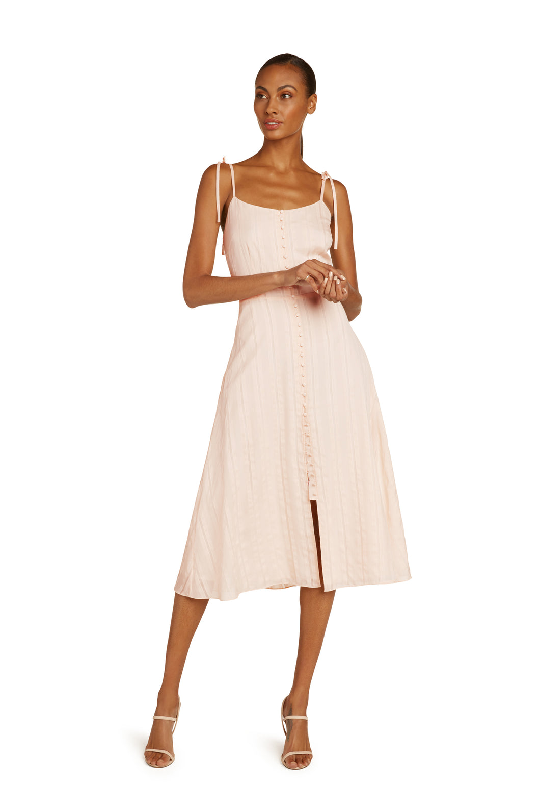 Leonie Silk Blend Midi Dress in Peach Fuzz