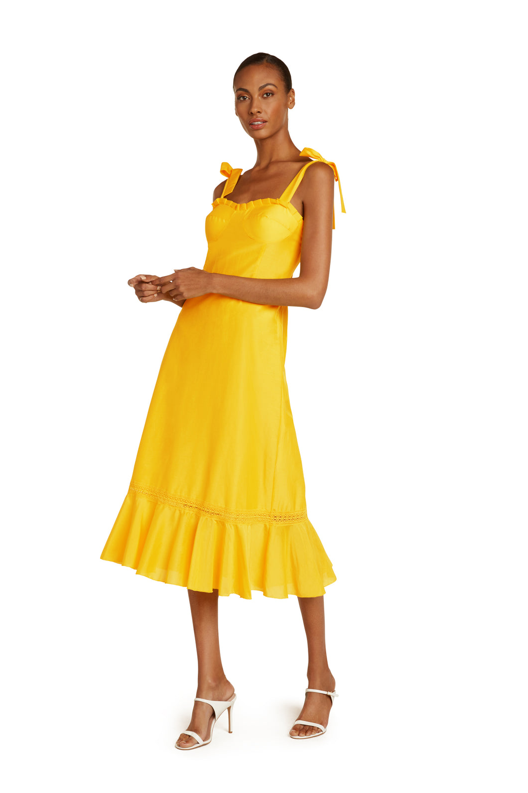 Jolene Cotton Midi Dress in Yellow Solar
