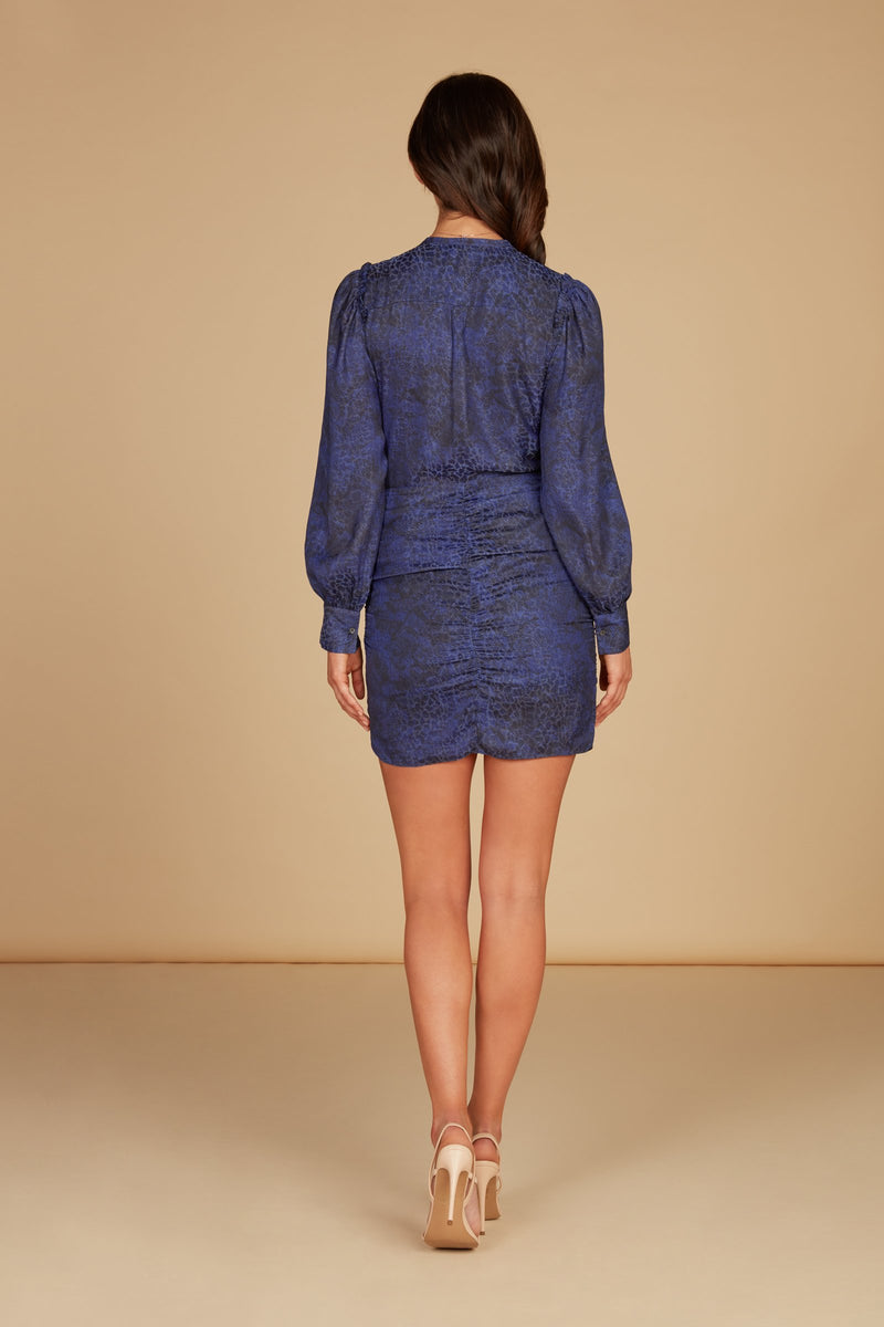 Elara Long Sleve Mini Dress in Navy Silky Animal Jacquard with Ruffle Detail