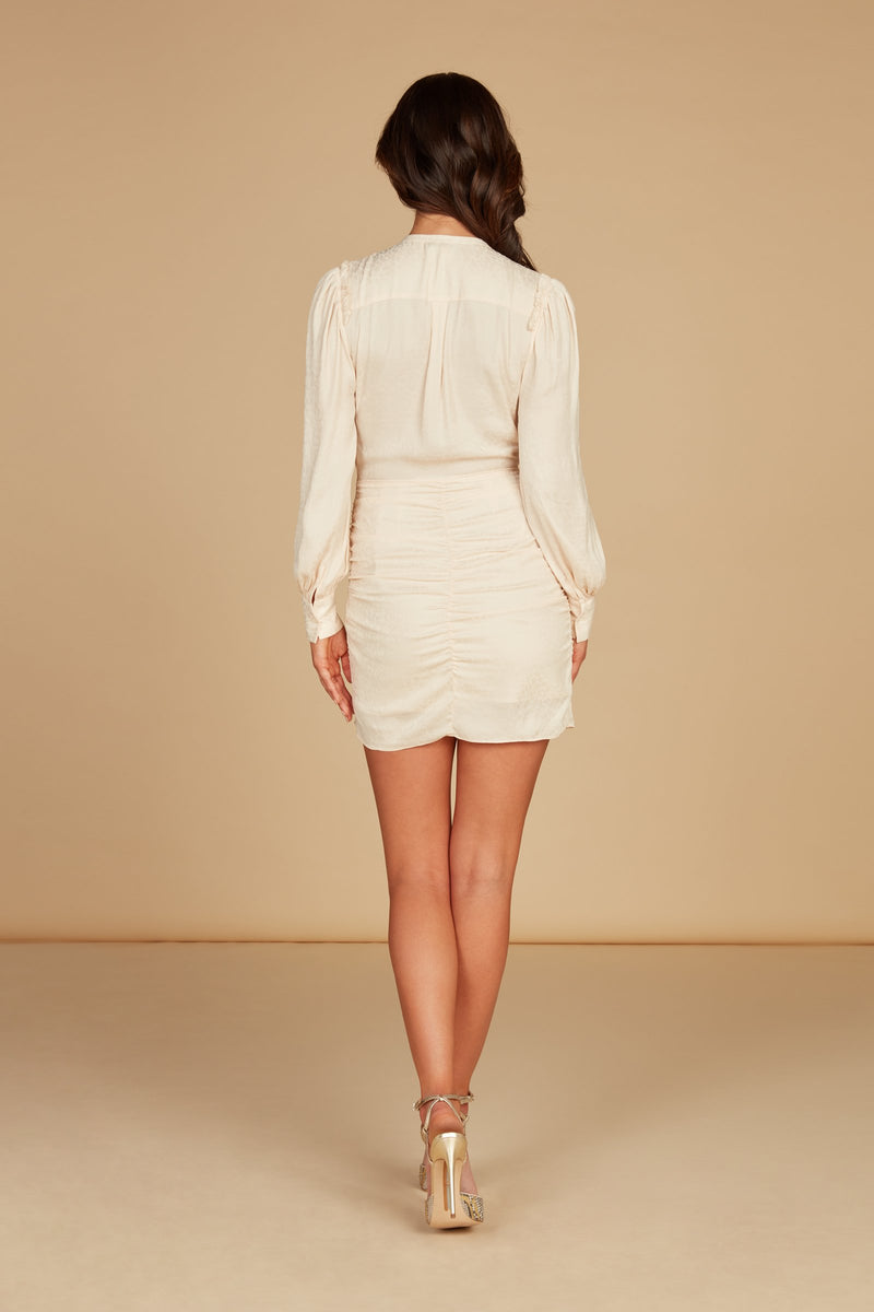 Elara Long Sleve Mini Dress in Vintage White Silky Animal Jacquard with Ruffle Detail