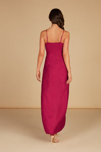 Hali Twist Front Maxi Dress in Cabaret Silky Animal Jacquard with High Slit