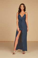 Hali Twist Front Maxi Dress in Midnight Silky Animal Jacquard with High Slit