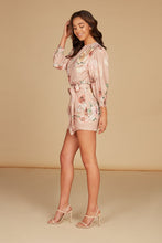 Load image into Gallery viewer, Valentina Draped Mini Dress in Blush Floral Floral Printed Silky Jacquard with Ruffle Detail