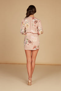 Valentina Draped Mini Dress in Blush Floral Floral Printed Silky Jacquard with Ruffle Detail