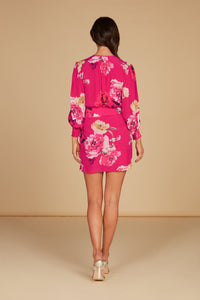 Lucia Draped Mini Dress in Hot Pink Floral Floral Printed Silky Jacquard with Ruffle Detail