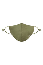 Load image into Gallery viewer, Olive Silk/Cotton Face Mask with Filter Pocket and Adjustable Straps