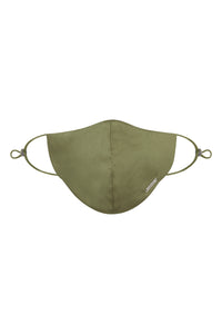 Olive Silk/Cotton Face Mask with Filter Pocket and Adjustable Straps