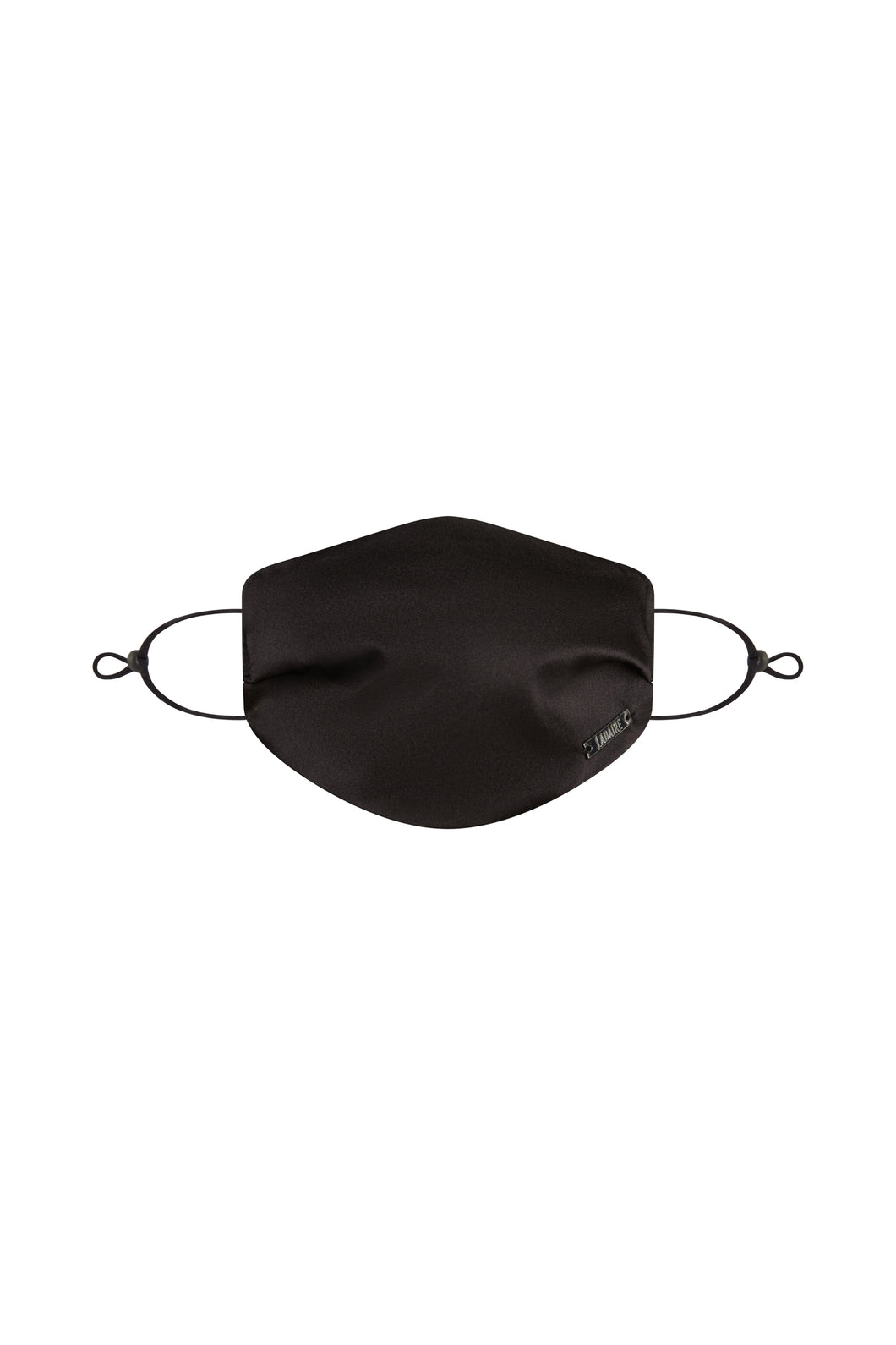 Small Black Silk Face Mask with Filter Pocket and Adjustable Straps