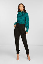 Load image into Gallery viewer, Paisley Long Sleeve Blouse In Teal Silk Blend Jacquard with Tie At Neck