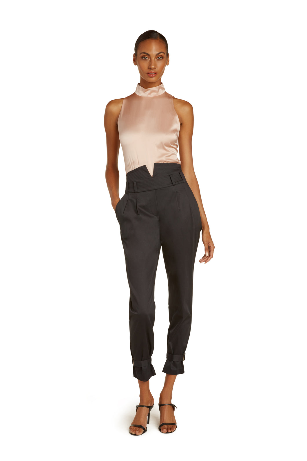 Marie Cotton High Waist Pants in Black