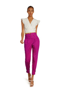 Marie Cotton High Waist Pants in Hot Pink