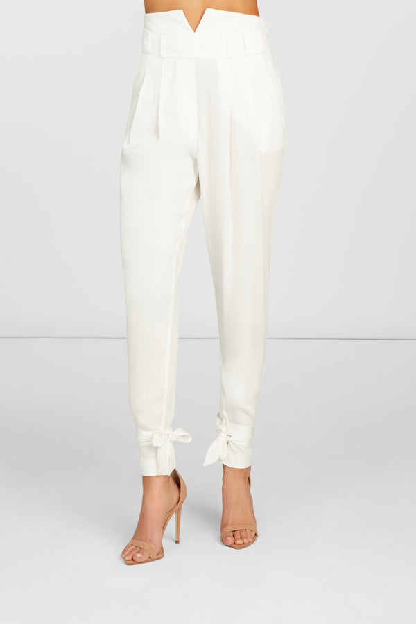 Aria High Waisted Cigarette Pants in White Viscose Stretch with Ankle Ties