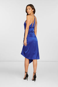 Lori Cut Out Midi Dress in Royal Blue Stretch Silk Satin with Adjustable Slit