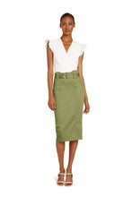 Load image into Gallery viewer, Mirielle Cotton Pencil Skirt in Army Green