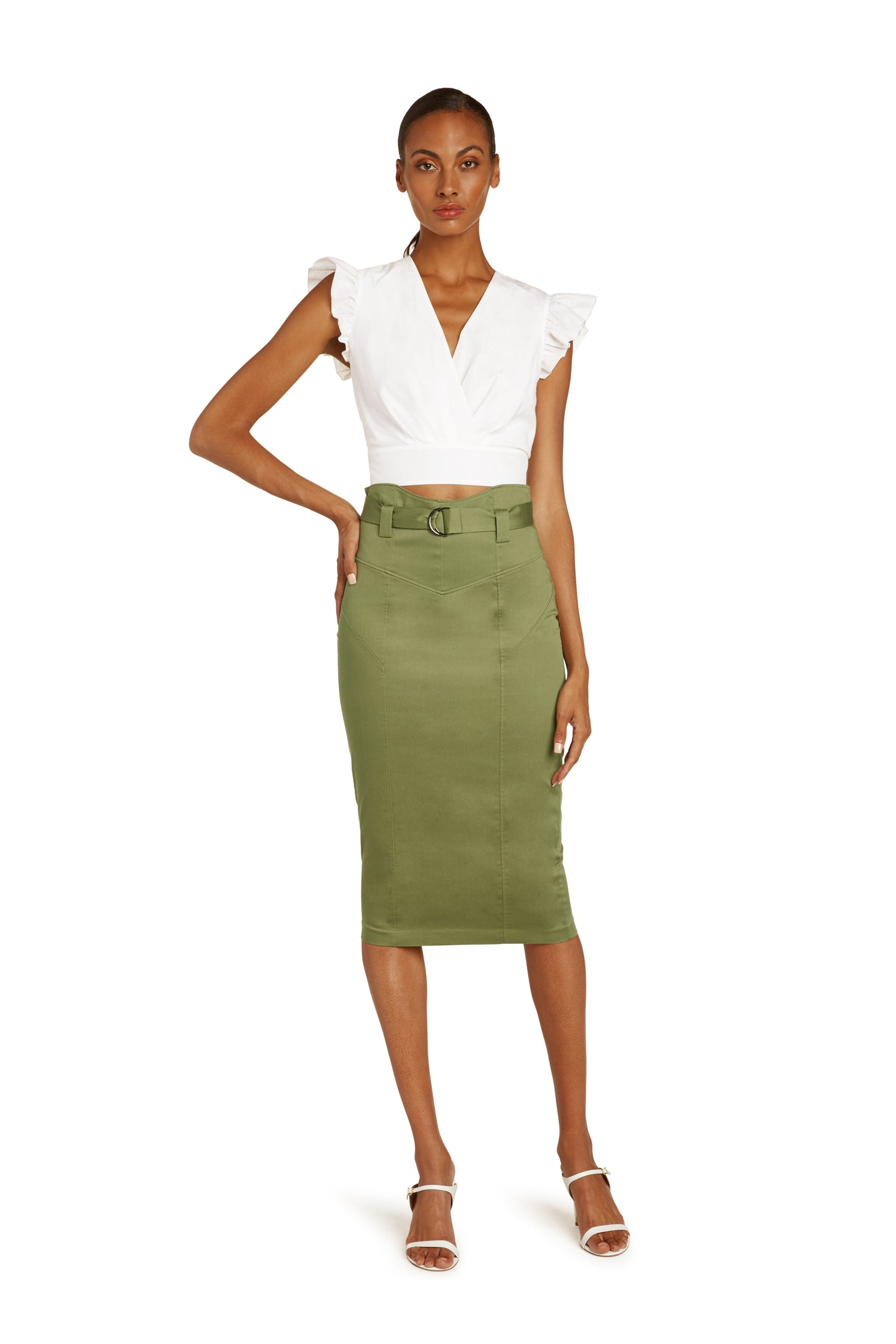 Mirielle Cotton Pencil Skirt in Army Green