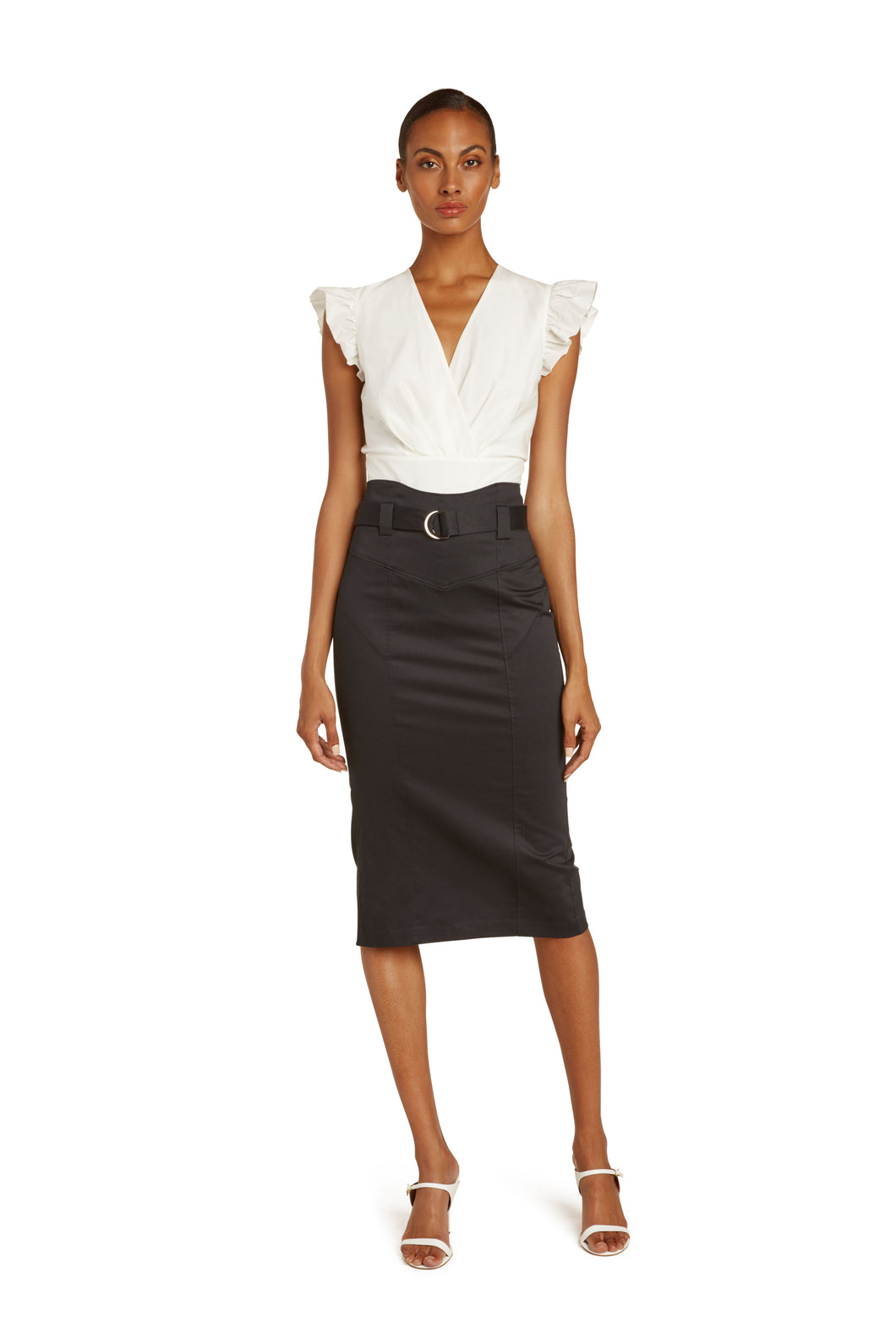 Mirielle Cotton Pencil Skirt in Black