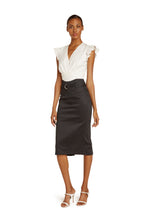 Load image into Gallery viewer, Mirielle Cotton Pencil Skirt in Black