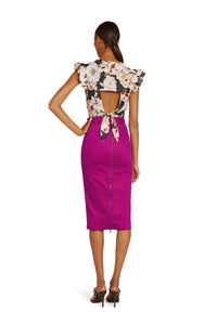 Mirielle Cotton Pencil Skirt in Hot Pink