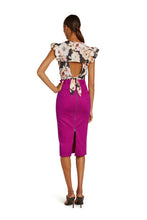 Load image into Gallery viewer, Mirielle Cotton Pencil Skirt in Hot Pink