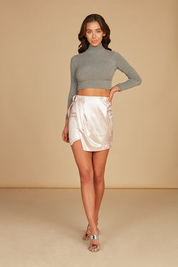 Natalia Wrap Front Mini Skirt in Foil Printed Lux Crepe with Pleat Detail