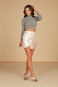 Natalia Wrap Front Mini Skirt in Pearl Pink Foil Printed Lux Crepe with Pleat Detail