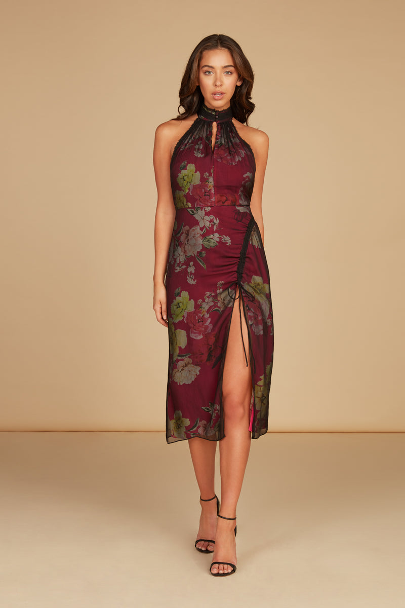 Elodie Halter Midi Dress in Floral Printed Silk Chiffon with High Slit