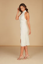 Load image into Gallery viewer, Elodie Halter Midi Dress in Ecru Silk Chiffon Clip Dot with Adjustable Slit