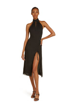 Load image into Gallery viewer, Elodie Halter Midi Dress in Black Crinkle Silk Chiffon with Adjustable Slit