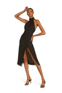 Elodie Halter Midi Dress in Black Crinkle Silk Chiffon with Adjustable Slit