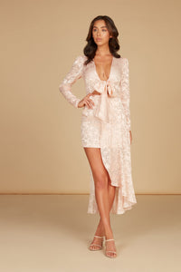 Cecile Tie Front Mini Dress in Cloud Pink Silk Burnout Jacquard with Self Overlay