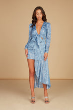 Load image into Gallery viewer, Cecile Tie Front Mini Dress in Light Blue Silk Burnout Jacquard with Self Overlay
