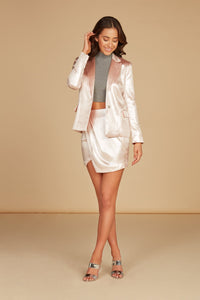 Renee Fitted Short Jacket in Pearl Pink Foil Printed Lux Crepe with Side Pockets