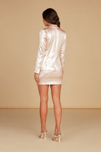 Load image into Gallery viewer, Renee Fitted Short Jacket in Pearl Pink Foil Printed Lux Crepe with Side Pockets