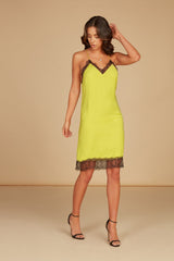 Tonia V-Neck Knee Length Dress in Chartreuse Silky Animal Jacquard with Cutout Detail