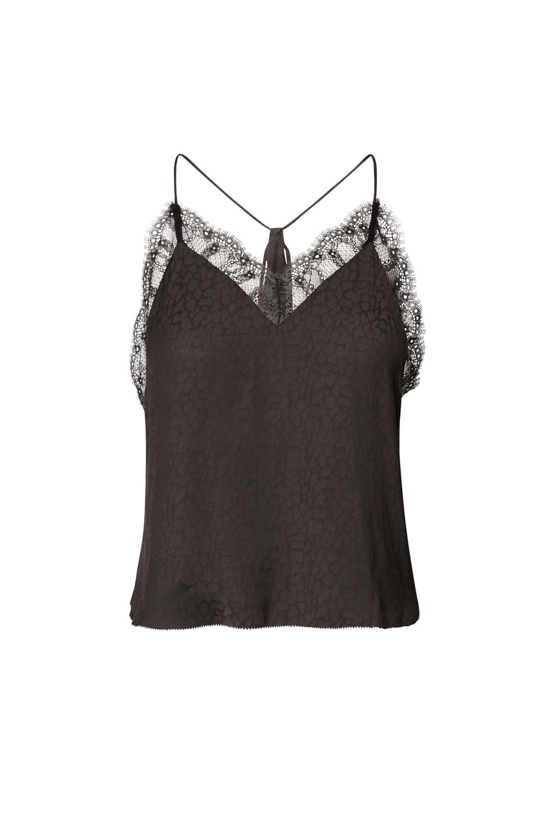 Amelia V-Neck Draped Cami in Black Silky Animal Jacquard with Cutout Detail