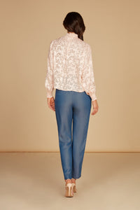 Sophia Mock Neck Draped Blouse in Cloud Pink Silk Burnout Jacquard with Smocking