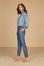 Load image into Gallery viewer, Sophia Mock Neck Draped Blouse in Light Blue Silk Burnout Jacquard with Smocking