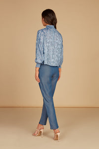 Sophia Mock Neck Draped Blouse in Light Blue Silk Burnout Jacquard with Smocking