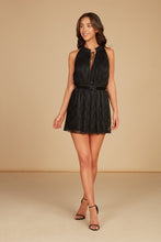 Load image into Gallery viewer, Grace Halter Mini Dress in Black Pleated Lace with Smocking