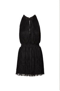 Grace Halter Mini Dress in Black Pleated Lace with Smocking