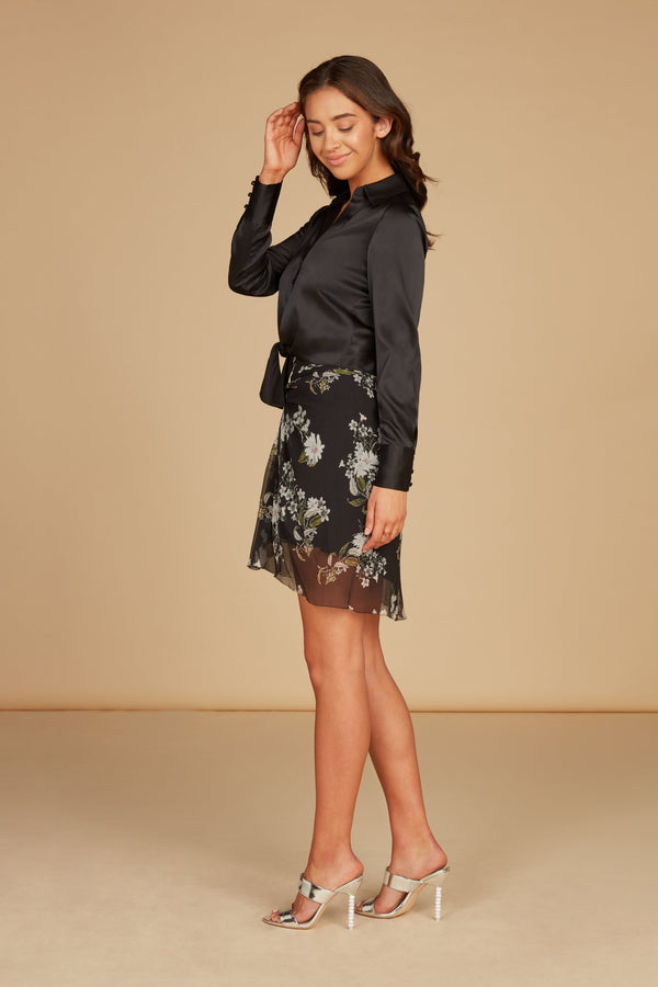 Magan High Waisted Mini Skirt in Black Floral Printed Silk Georgette with Pleat Detail